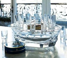 BACCARAT ABYSSE CAVIAR SET FULL LEAD CRYSTAL 10 SHOTS NEW FRANCE $6135