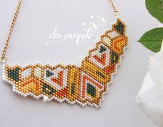 Happy Evening You can reach our latest necklace model from dm _________. Seed Bead Necklace, Beaded Earrings, Beaded Jewelry, Crochet Earrings, Handmade Jewelry, Beaded Bracelets, Native American Beading, Beaded Animals, Brick Stitch