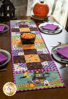 Easy Pieced Table Runner Series - October displayed on a table Halloween Quilts, Halloween Crafts, Halloween Night, Fabric For Sale Online, Halloween Table Runners, Shabby Fabrics, Table Runner Pattern, Quilted Table Runners, Quilt Kits