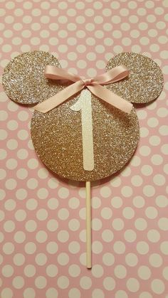 Pink and gold Minnie Mouse cake topper. by KrissysCraftCorner