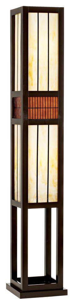 Wood and Art Glass Rectangle Floor Lamp | LampsPlus.com