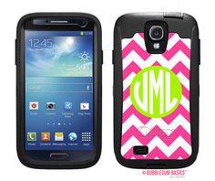 OTTERBOX DEFENDER Samsung Galaxy S4 siv Case Custom Hot Pink Chevron Lime Circle - Monogram Personalized
