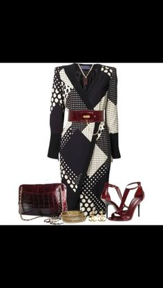 A fashion look from October 2013 featuring polka dot dresses, high heel shoes and beaded jewelry. Browse and shop related looks. Fashion 101, Fashion Books, Womens Fashion, Fashion Sets, Classy Outfits, Chic Outfits, Fashion Outfits, Floral Outfits, Dress Outfits