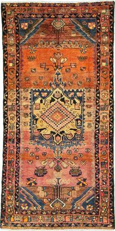 Orange 3' 9 x 7' 9 Kurdish Berber Persian Rug | Persian Rugs | eSaleRugs