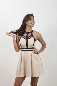 Vestido crema con borde negro, corte A. | G&B Boutique On Line