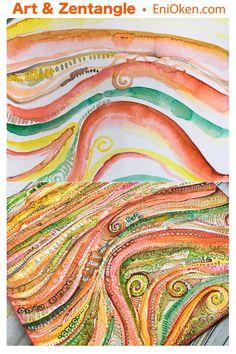 """Fantasy Agate"", watercolor and fine-liner pens. • enioken.com"