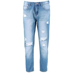 Boohoo Cara Distressed Boyfriend Jeans ($37) ❤ liked on Polyvore featuring jeans, high-waisted boyfriend jeans, high rise skinny jeans, high waisted skinny jeans, baggy boyfriend jeans and ripped boyfriend jeans