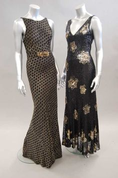 Two evening dresses, early 1930s, one covered in black sequins with gold sequinned stars, the other black with embroidered gold pattern and belt with gilt rose clasp; together with a skirt made from 1920s brocaded chiffon