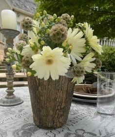 Handmade vases made from tree stumps