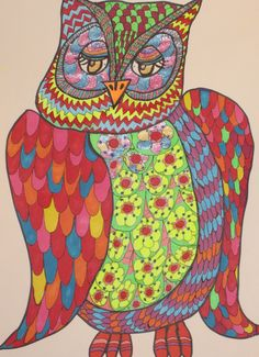 Mama Owl by artist {Kathy Costello} #owl #art