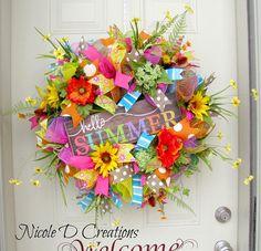 Hello Summer front door Wreath- Front door Summer Wreath- Everyday wreath- Flamingo Wreath- Wreath for Front door- Tropical Wreath