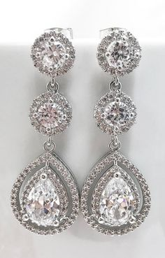 Gorgeous crystal drop earrings Wedding Day Jewelry, Diamond Earrings, Drop Earrings, Crystal Drop, Jewels, Crystals, My Style, Accessories, Shoes