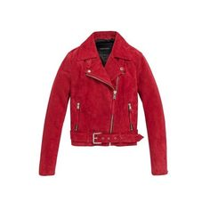 Andrew Marc Jessi ($318) ❤ liked on Polyvore featuring outerwear, jackets, coats, overwear, leather, red, asymmetrical leather jackets, asymmetrical jackets, motorcycle jacket and red moto jacket