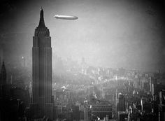 The Hindenburg flies past the Empire State Building over Manhattan on August 8, 1936