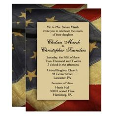 Distressed American Flag Wedding Invitation - wedding invitations cards custom invitation card design marriage party