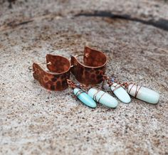 Hammered boho hoop earrings copper with amazonite by ViolinDesign