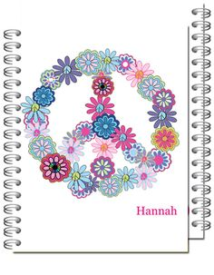 Personalized Hippee Peace Spiral Notebook