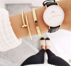 LOVE this wrist pair! simple black leather strap Daniel Wellington watch + your favorite gold bangles