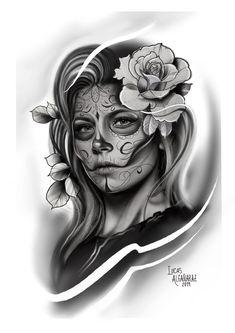 Skull Girl Tattoo, Girl Face Tattoo, Sugar Skull Tattoos, Tattoo Girls, Tatuajes Tattoos, Chicano Art Tattoos, Bild Tattoos, Body Art Tattoos, Great Tattoos
