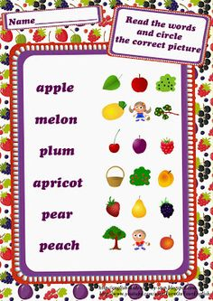 #ESL worksheets: fruits . Find more at http://english4kids-step-by-step.blogspot.com/2013/10/fruits-and-berries-worksheets.html #English #kids