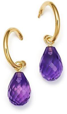 Bloomingdale's Amethyst Briolette Hoop Drop Earrings in Yellow Gold - Exclusive Jewelry & Accessories - Bloomingdale's Lila Gold, Purple Gold, I Love Jewelry, Silver Jewelry, Women Jewelry, Stone Jewelry, Jewlery, Amethyst Earrings, Drop Earrings