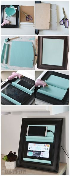 Hometalk :: A Counter Top Charging Station & Tablet Holder From a Picture Frame