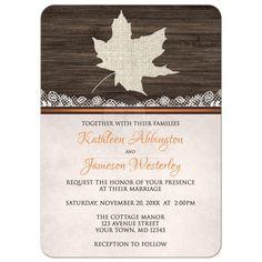 Wedding Invitations - Rustic Autumn Wood Leaf Orange