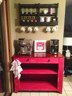 Repurposed antique pie safe turned into an in home coffee bar. Coffee shelf from  DelHutsonDesigns via etsy.com