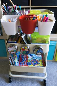 The easiest way to simply & neatly store your kids art and craft supplies: a DIY craft trolley using the Ikea Raskog Trolley! Ikea Storage Shelves, Ikea Storage Cubes, Ikea Kids Storage, Craft Room Storage, Storage Ideas, Scrapbook Paper Organization, Craft Organization, Ikea Raskog Trolley, Kid Life Hacks