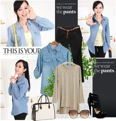 """Women Jean Shirt"" by fashionsara1987 on Polyvore"