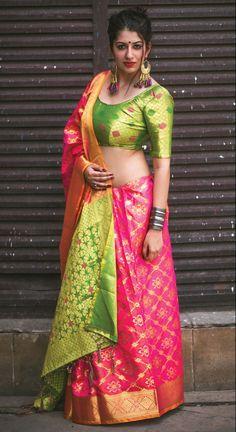 Shaded pink festival wear patola silk saree with contrast blouse Indian Blouse Designs, Sari, Saree Dress, Saree Blouse, Chiffon Saree, Wedding Sarees Online, Silk Sarees Online, Silk Sarees With Price, Party Wear Sarees Online