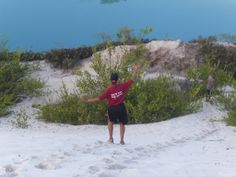 In Guyana running down the white sand to the still waters....