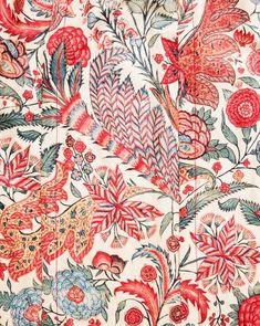 exotic textile  vintage antique floral graphism botanical indian cotton chintz fabric tissu (dress robe fleurs flowers) via geheugenvannederland.nl