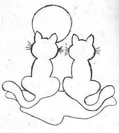 Eu Amo Artesanato: Gatos e galinhas para patch aplique com moldes, bichinhos de feltro no pote com molde