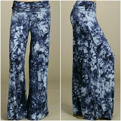 WIDE LEG PANTS NEW BLUE PRINTED WIDE LEG PANTS WITH A FOLD OVER WAIST. SUPER SOFT & COMFY. CAN BE DRESSED UP WITH A PAIR OF HEELS OR DRESSED DOWN.  ℹMADE IN THE USA ℹRAYON/SPANDEX 95/5 JERSEY ℹPRICE IS FINAL UNLESS BUNDLED Pants Wide Leg