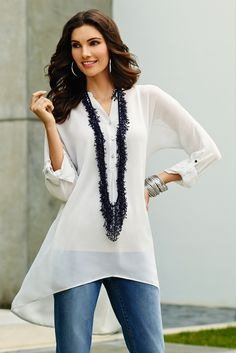 The New Tunic: The classic shirt lightens up with sheer fabric and a high-low hemline  chicos