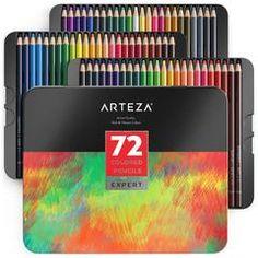 Arteza Professional Colored Pencils Set of 72 Colors Soft Wax-based Cores Idea for sale online Colores Faber Castell, Ile De Wight, Swatch, Artist Pencils, Fineliner Pens, Coloured Pencils, Watercolor Pencils, Tin Boxes, Marker Art