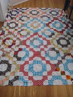 Vintage Hand Pieced Bow Tie Snowball Quilt Top 66 x 78 Patchwork, I've never seen this setting, very interesting.
