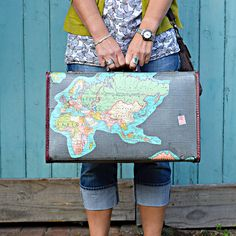 Upcycled vintage map suitcase - Wait till you see the inside it's even better… Vintage Suitcases, Vintage Luggage, Vintage Maps, Upcycled Vintage, Repurposed, Vintage Market, Vintage Items, Suitcase Storage, Suitcase Table
