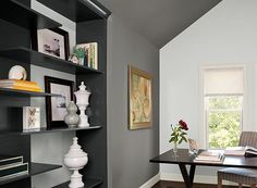 benjamin moore cinder is one of the best dark gray or charcoal paint colours, particularly for a feature wall