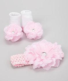 Love this Pink & White Flower Socks & Headband on #zulily! #zulilyfinds