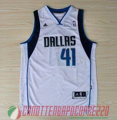 canotte nba poco prezzo Dallas Mavericks bianco # 41 Nowitzki
