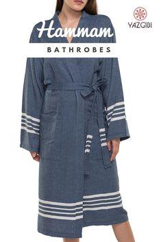 26365b1356c Comfortable soft hamam bathrobe with kimono collar made of hamam towel  fabric in navy blue.
