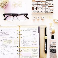 Stationary flatlay: 2015 monthly planner. Instagram: @milkthistles