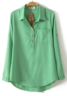 Green Plain Pockets Buttons Blouse