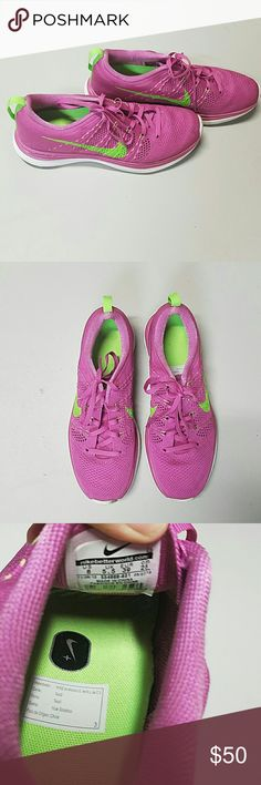 Nike flyknit lunar 1 shoes Pink and Lime green Nike flyknit lunar shoes~ size 8~ excellent condition, only worn a handful of times~ does have a tiny bit of mud on bottom that can be easily cleaned Nike Shoes Sneakers