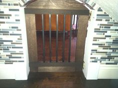 Hand crafted door for the Dog Kennel under the stairs.