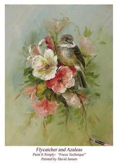Jansen Art Online Store - P1114 Flycatcher and Azaleas- Download, $6.95 (http://www.jansenartstore.com/p1114-flycatcher-and-azaleas-download/)