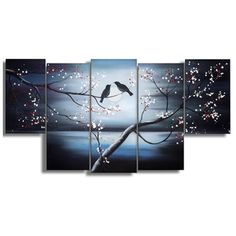 Shop for Together Forever Birds' Large 5-panel Canvas Painting Art. Get free delivery at Overstock.com - Your Online Art Gallery…