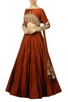 26cc95303e4261 Stitched Silk Lehenga Choli In Brown Colour Plus Size Up To 54 Product Code    LD2540148